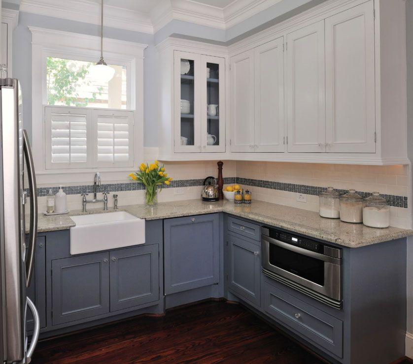 desde hace unos aos ya no se llevan las cocinas montonas en las que los armarios de arriba y de abajo tengan el mismo color - Pintar Muebles De Cocina