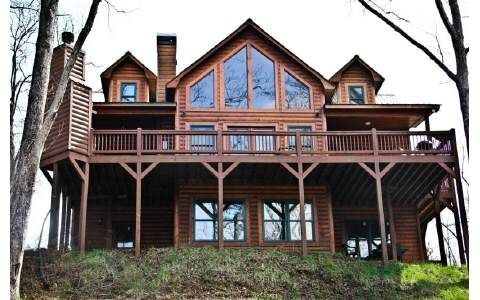 Log Cabin Tall Windows Wrap Around Porch Perfect With Images House In The Woods Cabin Log Cabins For Sale