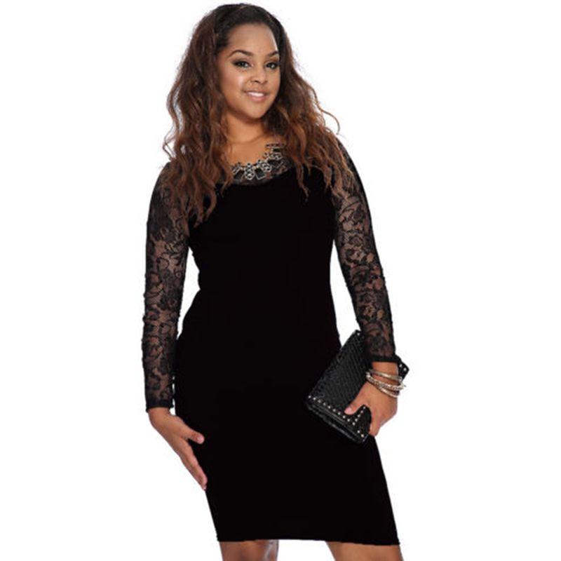 Elegant 2017 new autumn Women lace patchwork long sleeve Bodycon dress  ladies o-neck casual sexy Stretch pencil dress plus size ce9126937089
