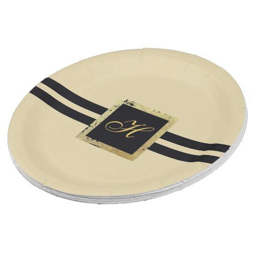sc 1 st  Pinterest & Black and Tan Monogram Paper Plate
