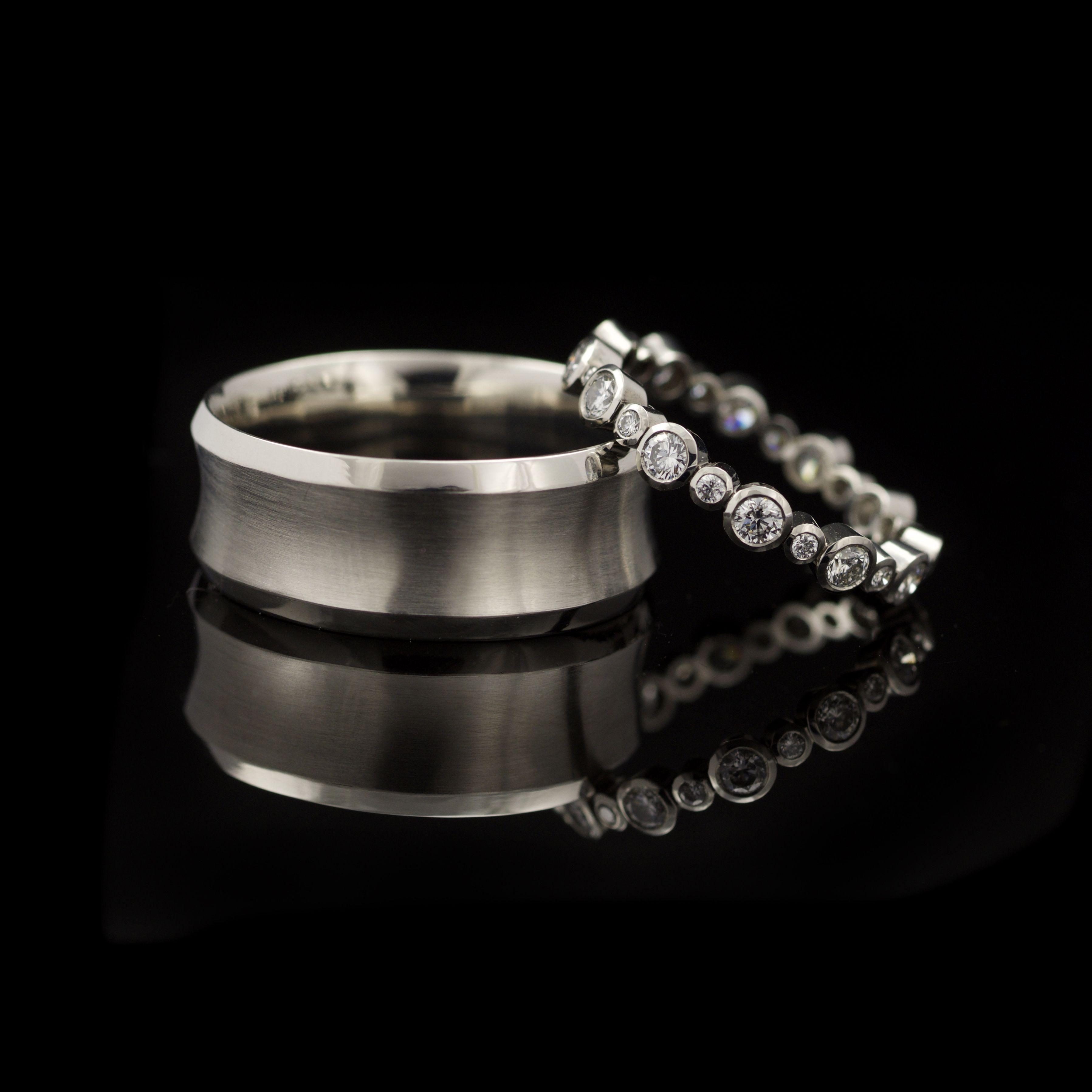 Bespoke wedding ring set in platinum concave wide band