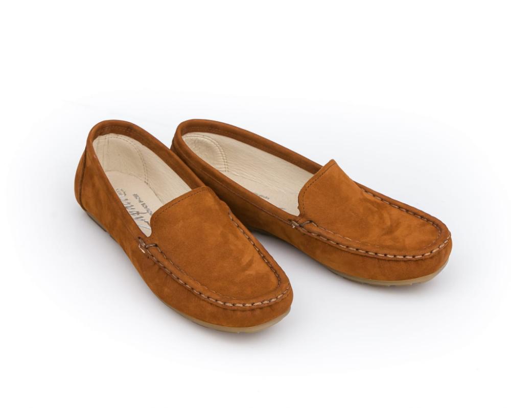 Mokasyny Damskie Skora Naturalna Model 001 Kolor Rudy Nubuk Sklep Zapato Loafers Shoes Fashion