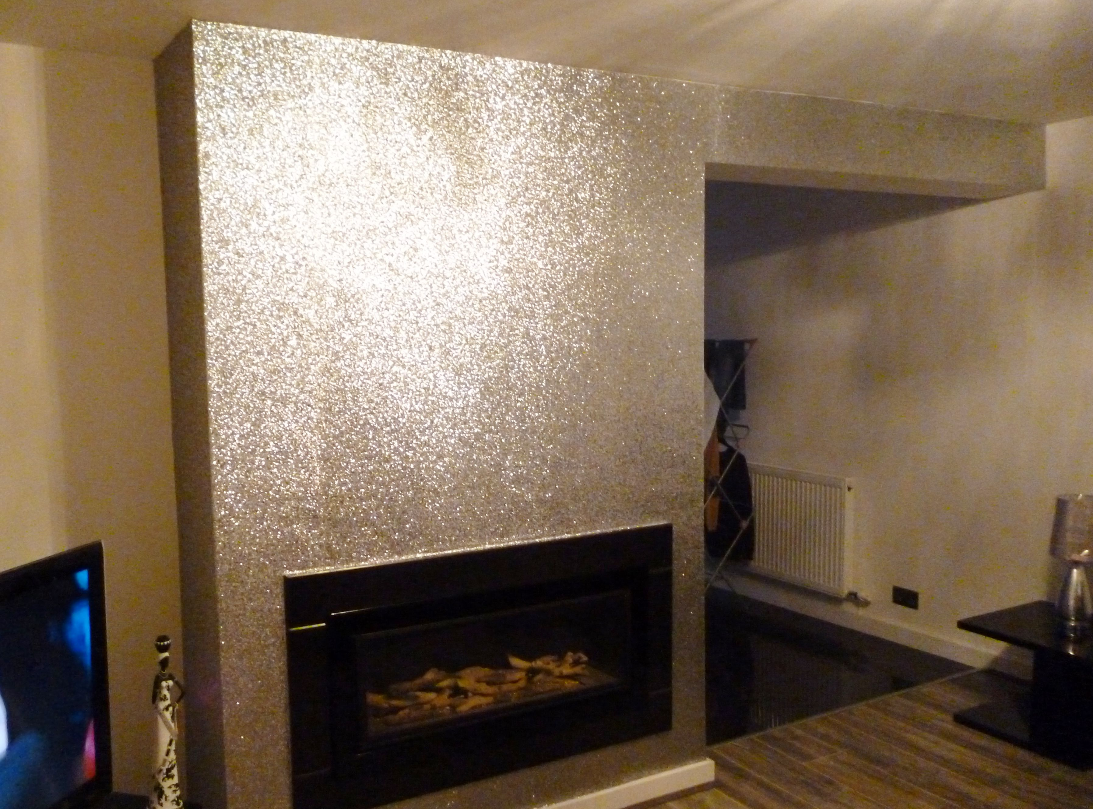 Sparkling silver glitter wallpaper feature wall 22 per Fireplace feature wall colour