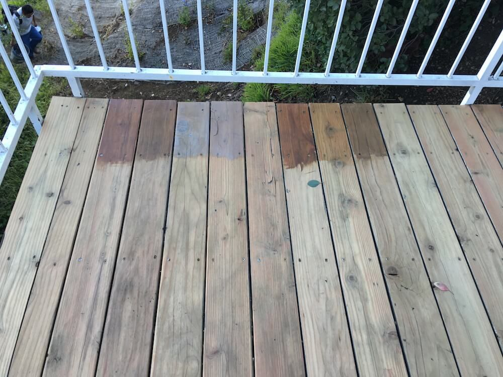 Giving New Life To Our Old Wood Deck Get The Look Emily Henderson In 2020 Deck Stain Colors Staining Deck Best Deck Stain