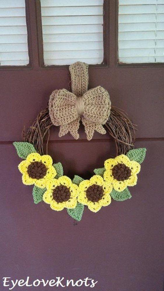 Photo of Sunflower Wreath Crochet pattern by Alexandra EyeLoveKnots
