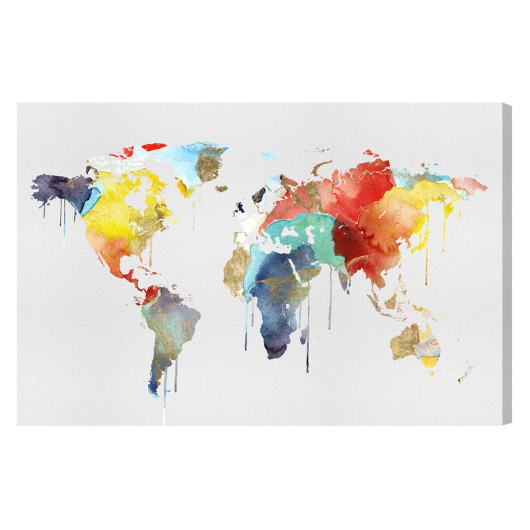 Oliver gal mapamundi watercolor canvas wall art 17148 24x16 canv xhd