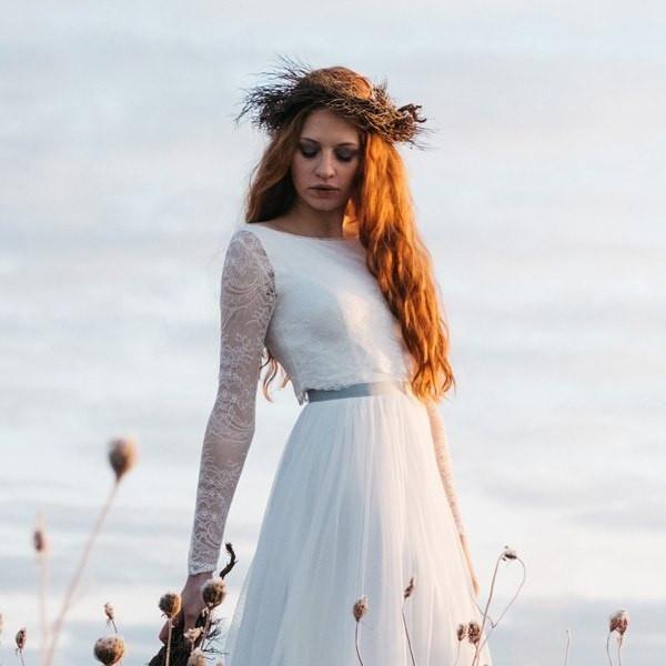 Spitzentop mit Ärmel zum Vintage Brautkleid - Ninette   Pinterest