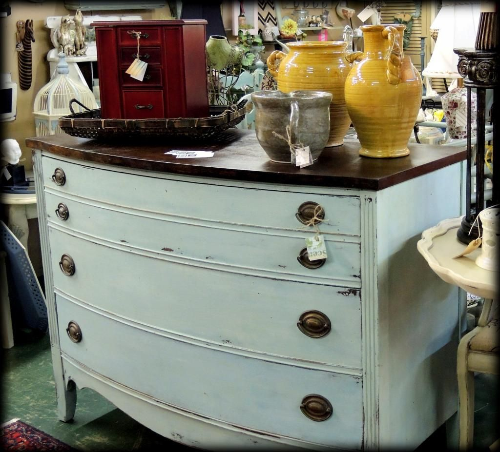 SOLD-Antique Mahogany Bow Front Dresser. Custom Painted By