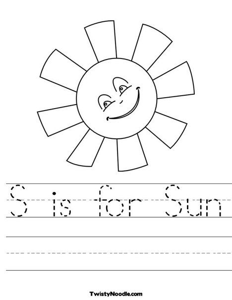 S Is For Sun Worksheet Homeschool Summer Worksheets Preschool