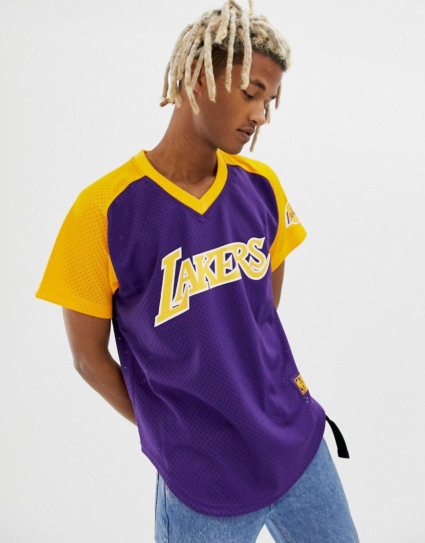 6f12f446 MITCHELL & NESS LA LAKERS MESH V-NECK T-SHIRT IN PURPLE - PURPLE. # mitchellness #cloth