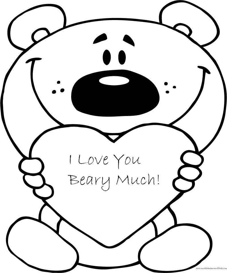 Beary Much Valentines Day Free Coloring Page Printable Kathy S