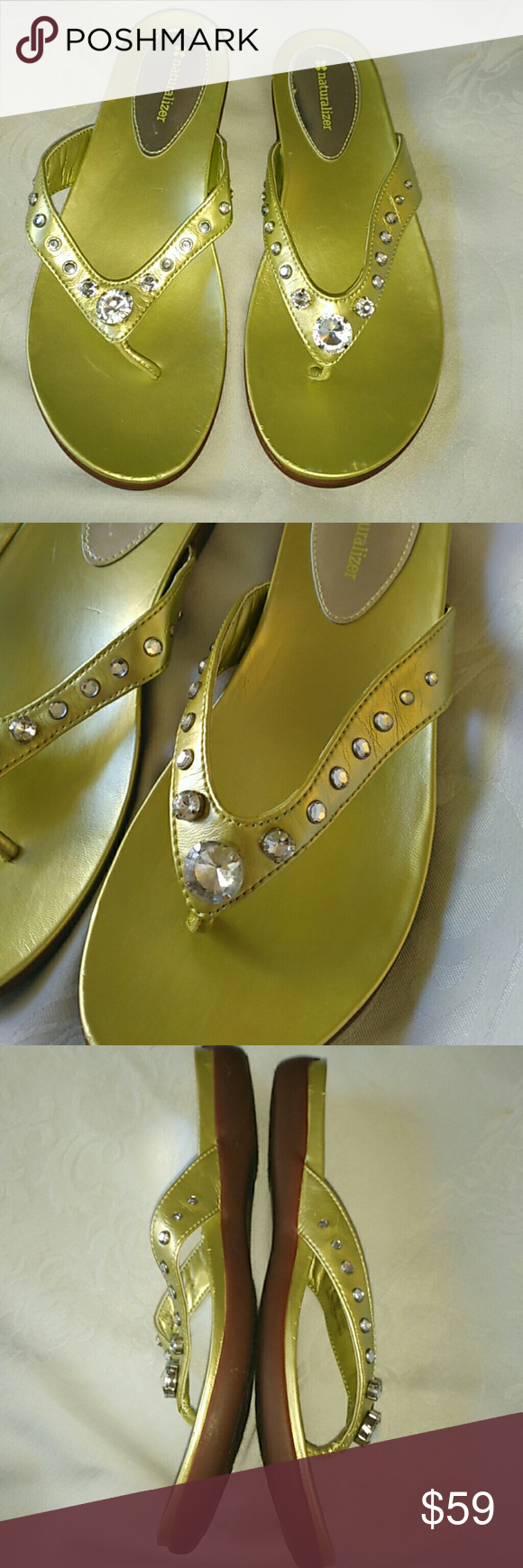 8db35f0bfd45 7.5 Naturalizer Lesley green rhinestone sandals