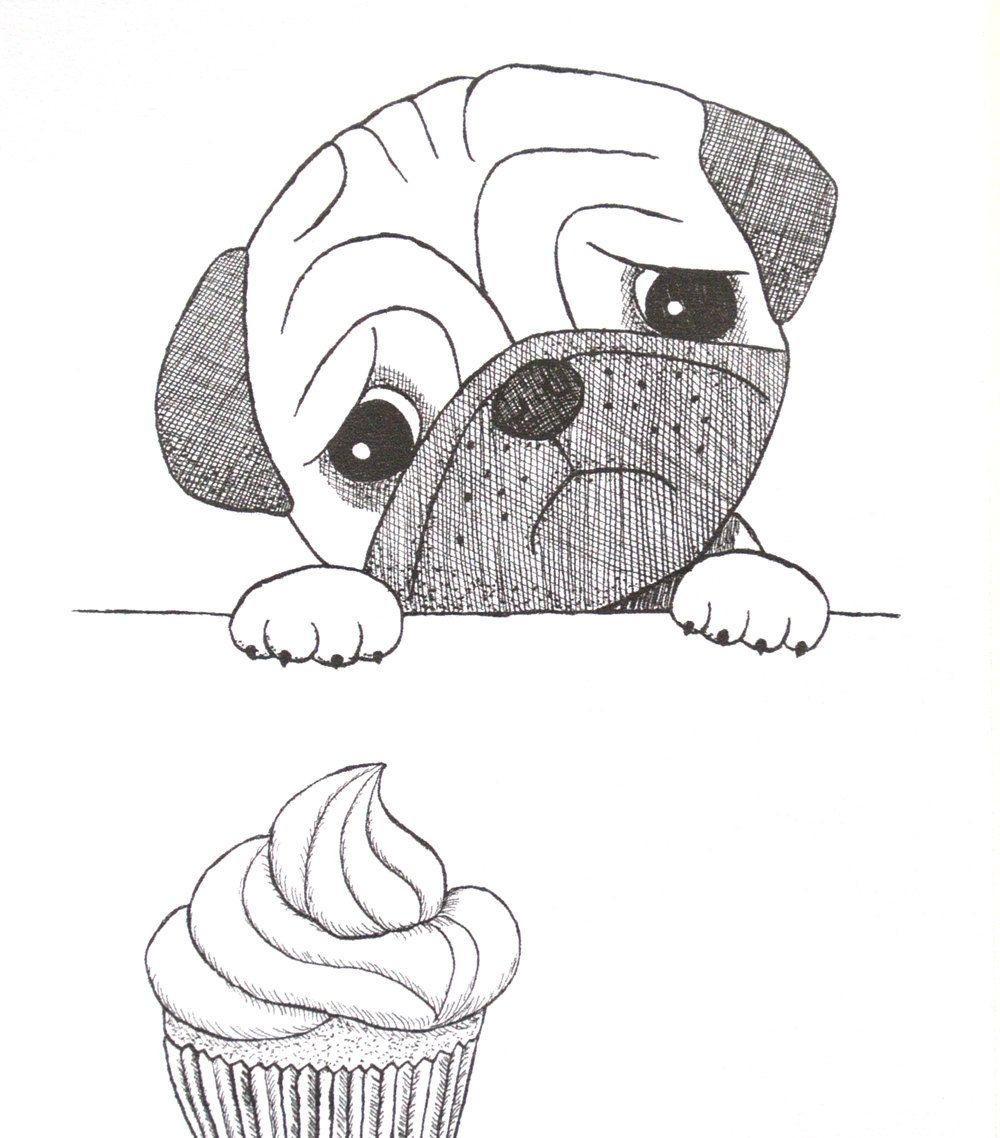 Pug Ink Drawing Print Funny Cute Pug With Cupcake Illustration