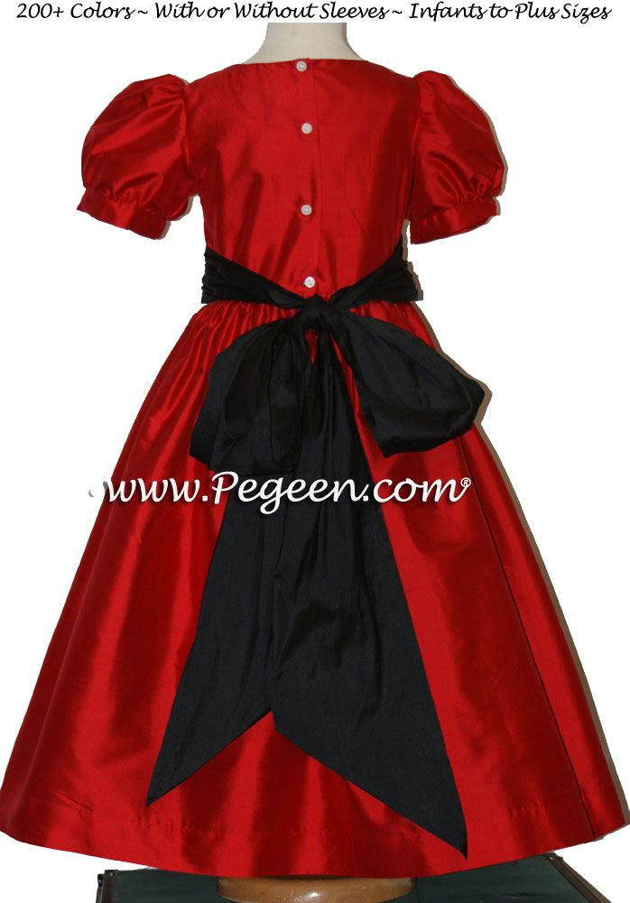 cd3117e7c Christmas Red, Black flower girl dress in silk style 398 | Pegeen ...