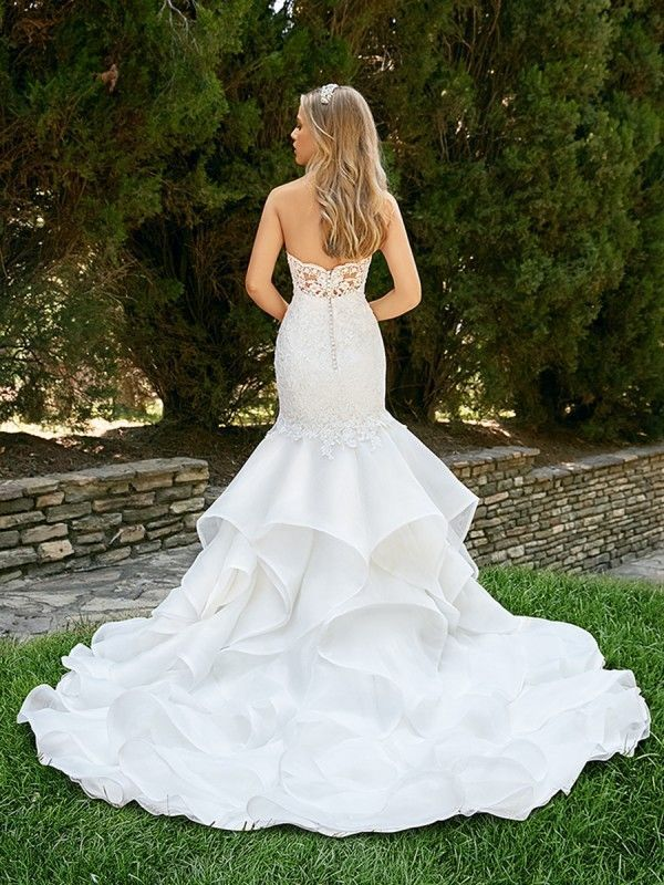 Textured skirt mermaid wedding dress Moonlight Collection J6550 ...