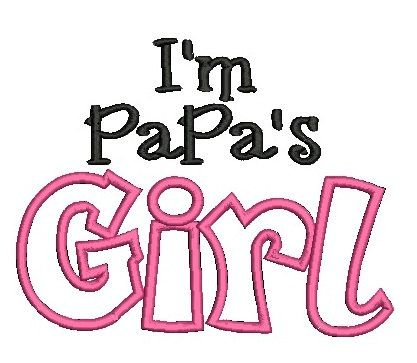 Papa's Girl Embroidery Design, Grandparent Design, Girl Embroidery