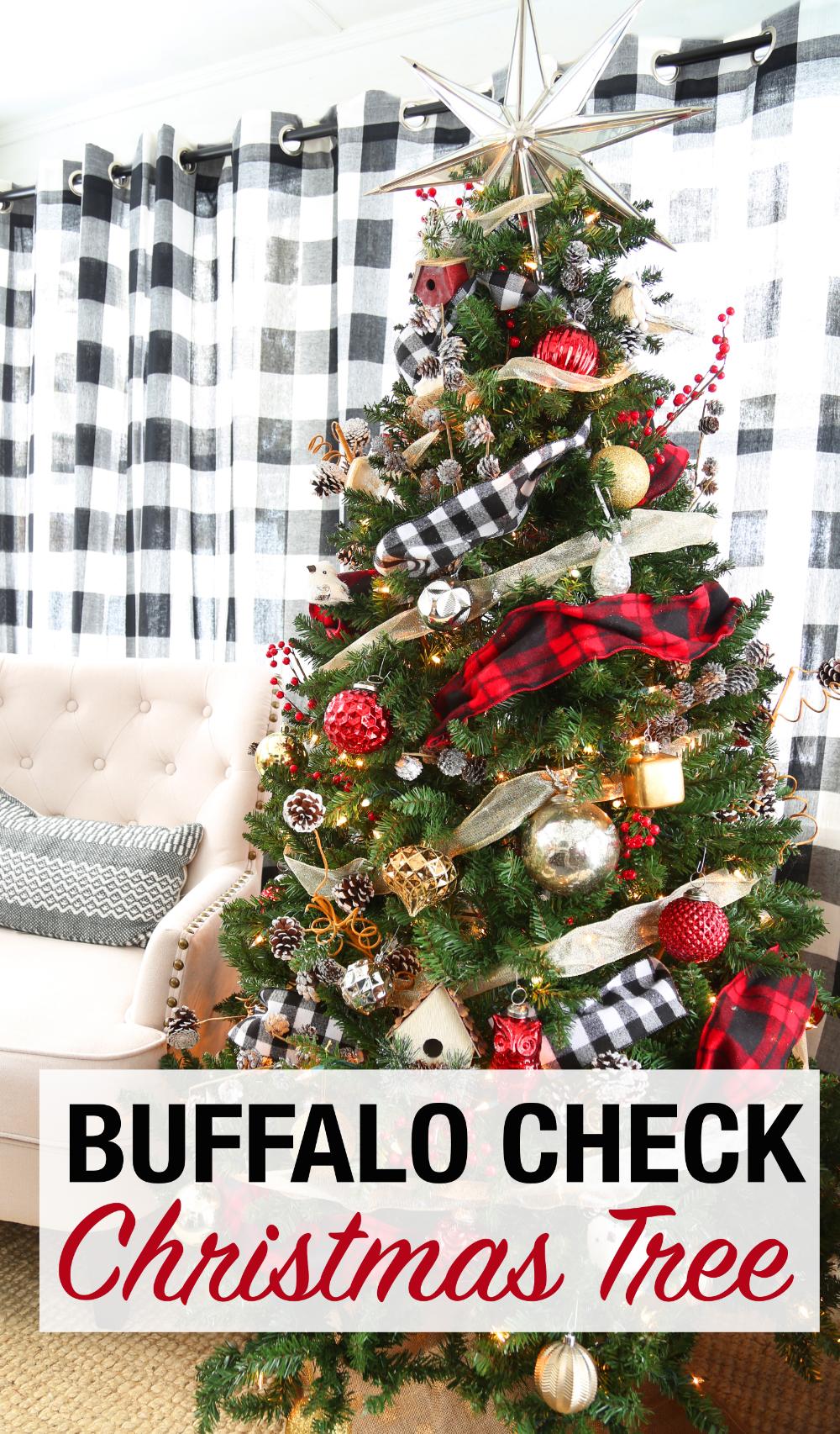 A buffalo check plaid Christmas tree decorate with black and white buffalo check and red and black plaid ribbon. #ChristmasTree #BuffaloCheck #ChristmasDecor #SeasonalDecor