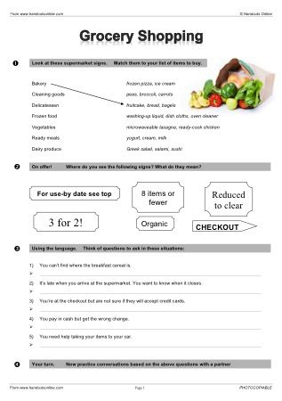 Pin By Amanda Lilgreen Ray On English Activities Grocery Shopping Grocery Shop Grocery store worksheets