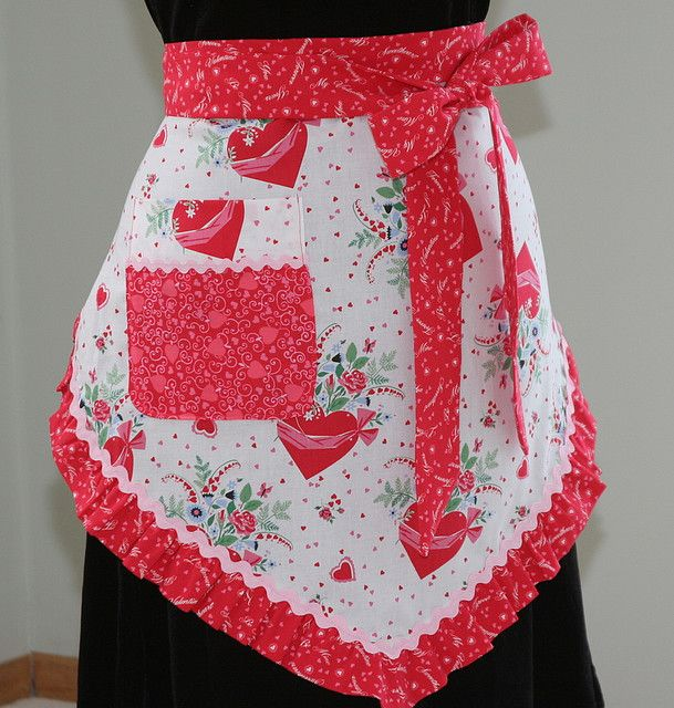 Valentine Apron, Vintage Fabric