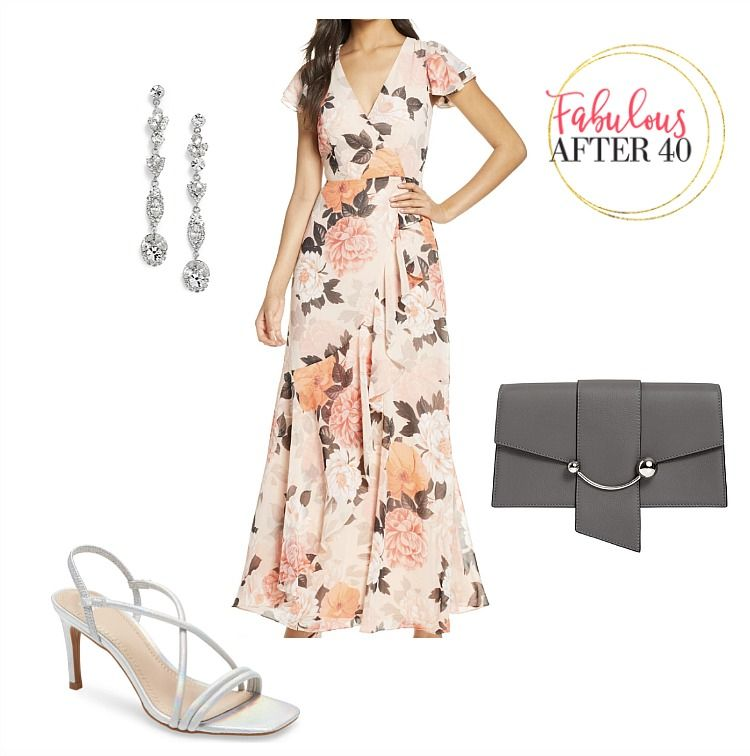 peach dress and silver shoes
