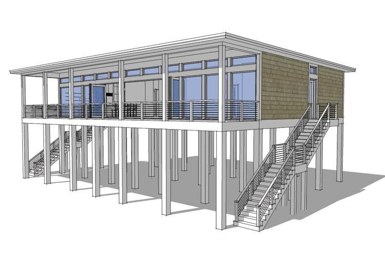 House Plan 028 00092 Modern Plan 2 457 Square Feet 4 Bedrooms 2 Bathrooms In 2021 House On Stilts Beach House Plans Stilt House Plans