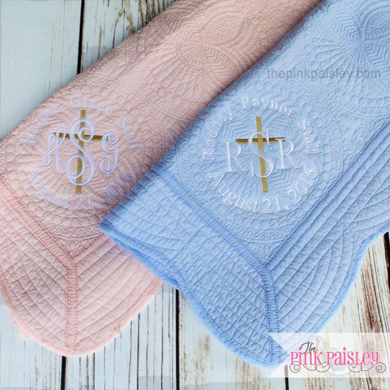 Baptism blanket Baptism baby blanket Embroidered baptism baby blanket Embroidered baptism blanket Baby/'s baptism Embroidered baby blanket