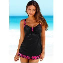 Große Größen: Lascana Tankini in extra langer und weiter Form, schwarz-pink, Gr.46D Lascana – Business outfits