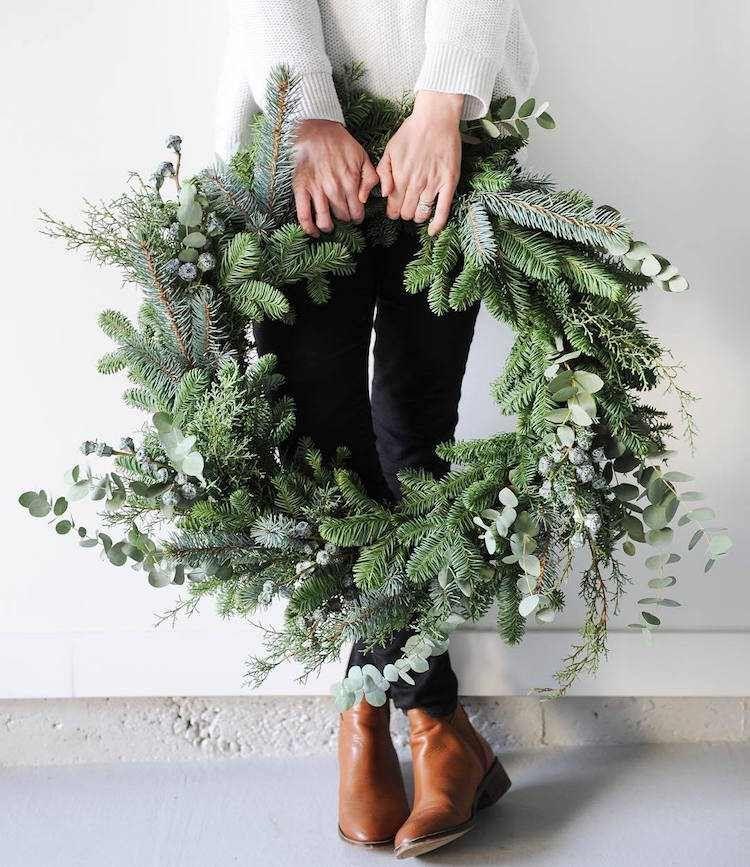 couronne de Noel naturelle branches sapin eucalyptus #Noël