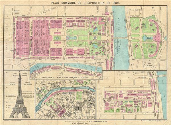 1889 Gigon Map Of The Paris Exposition Eiffel Tower Map Art