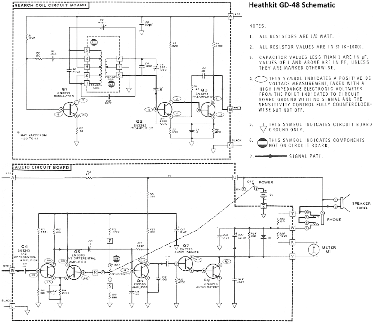 Schematic Diagram Of The Heathkit Gd 48 Metal Locator Metal Detector Detector Metal