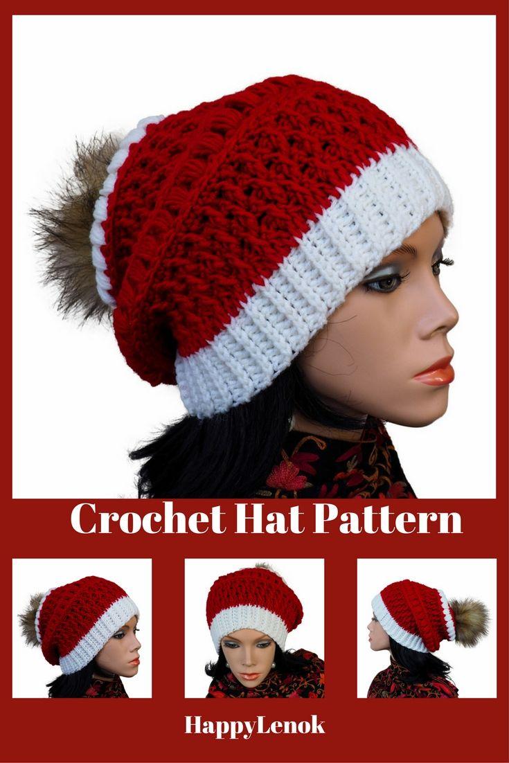 Pom Pom hat Santa hat adult Christmas Hat pattern Red Christmas hat ...