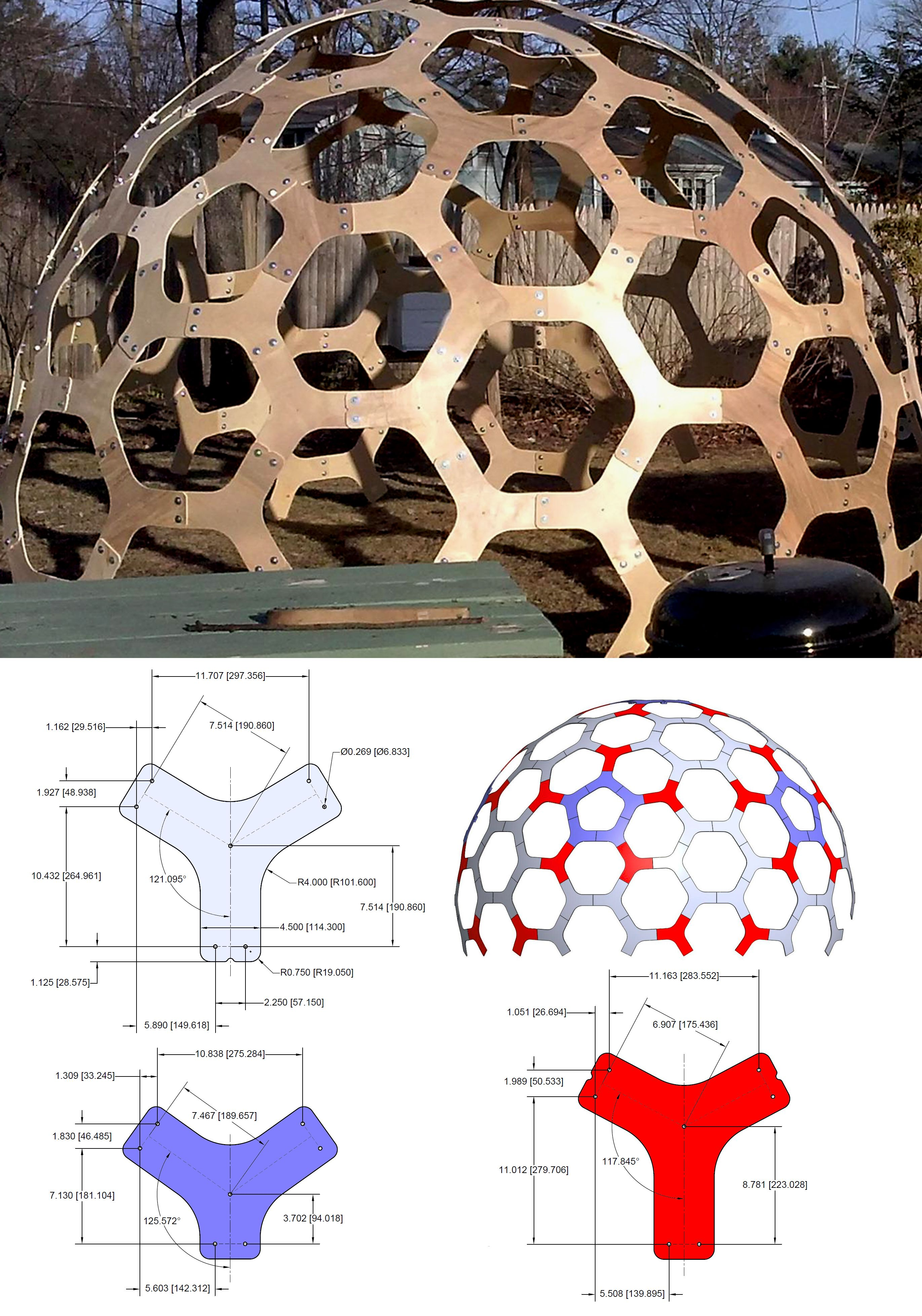 "12'(3.7m) Dia. Hex Dome Pattern. Use 3/8""(10mm) Plywood"
