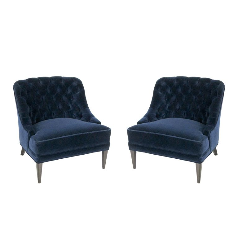 Beau Pair Of Navy Blue Velvet Tufted Back Lounge Chairs | From A Unique  Collection Of Antique And Modern Lounge Chairs At ...