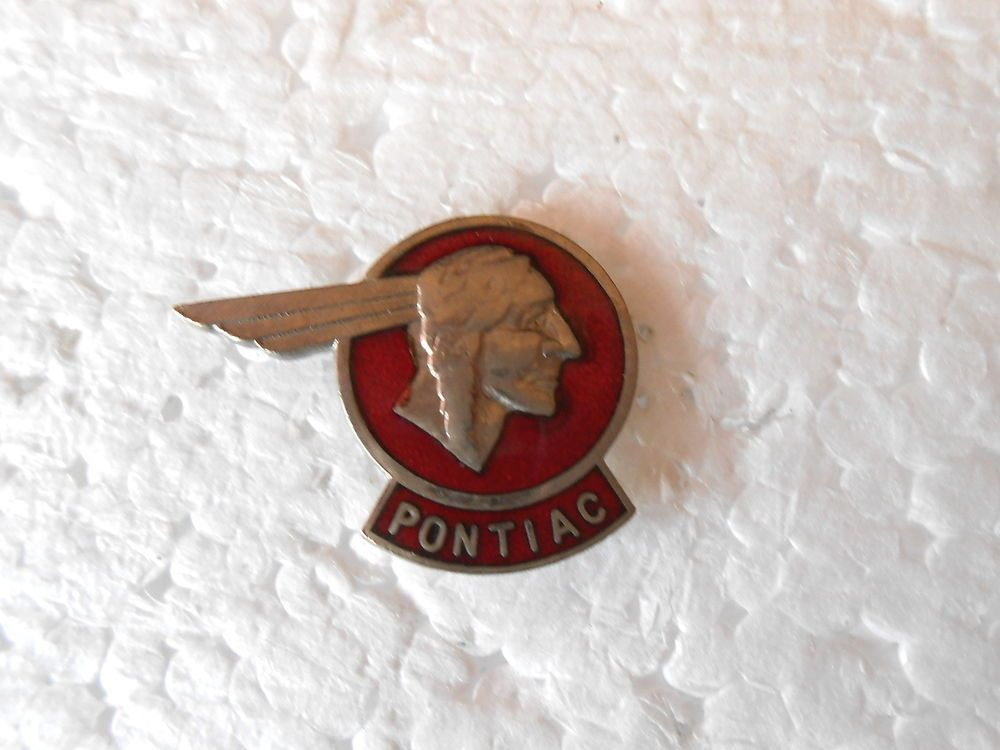 Vintage Pontiac Automobile Indian Head Emblem Enamel Lapel Pin ...