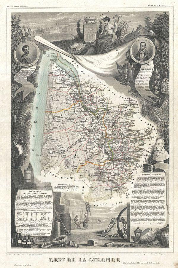 Dept. de la Gironde. Levasseur antique wine region maps