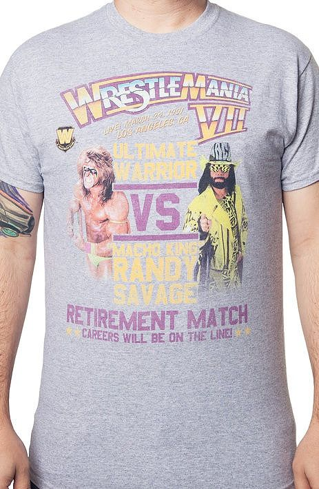 ace38b6df025 Ultimate Warrior vs Randy Savage WrestleMania T-Shirt Wrestling history was  made with this popular Championship bout. Grab a drink