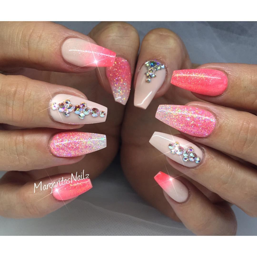 Coral coffin nails   n a i l s   Pinterest   Nails, Nail ...
