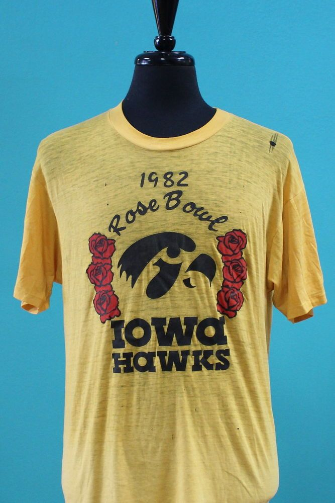 vintage #80s paper thin iowa hawkeyes rose bowl t shirt large soft from $24.99
