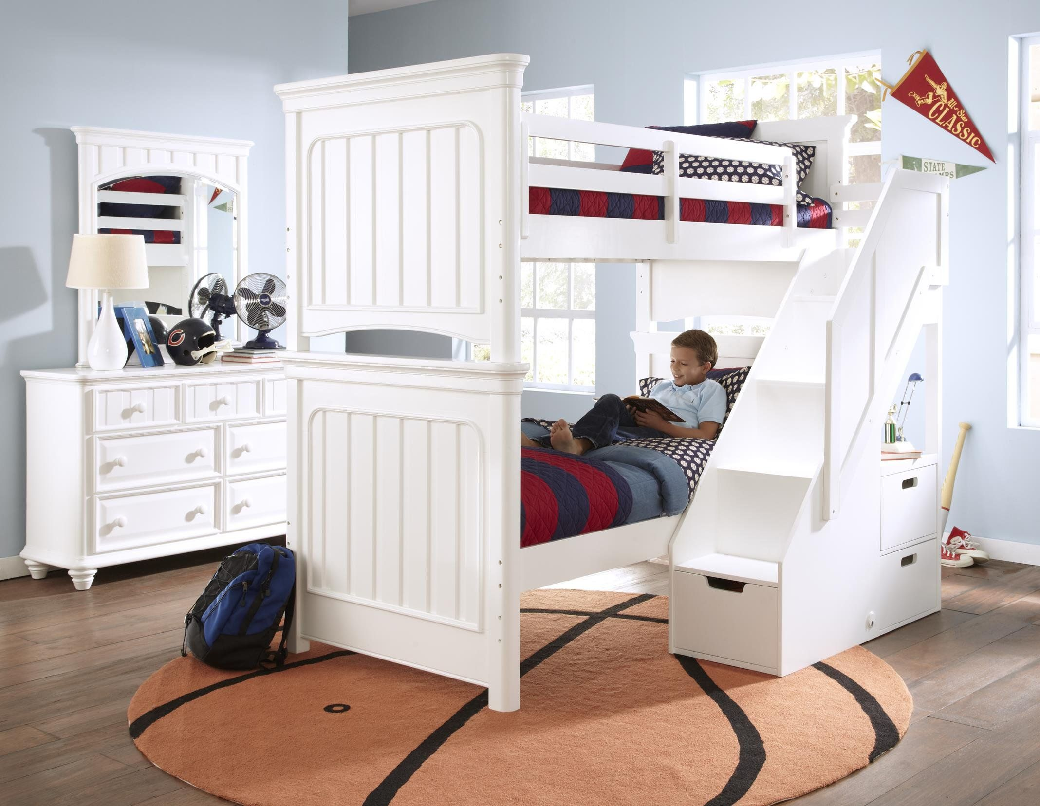 amazoncom pulaski schools out bunk bed with stairs twin over twin