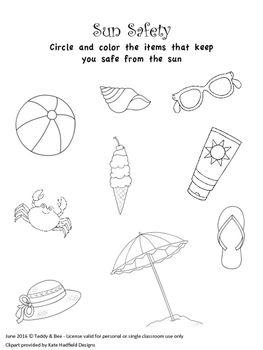 Free Sun Safety Worksheets Prek Sun Safety Activities Summer