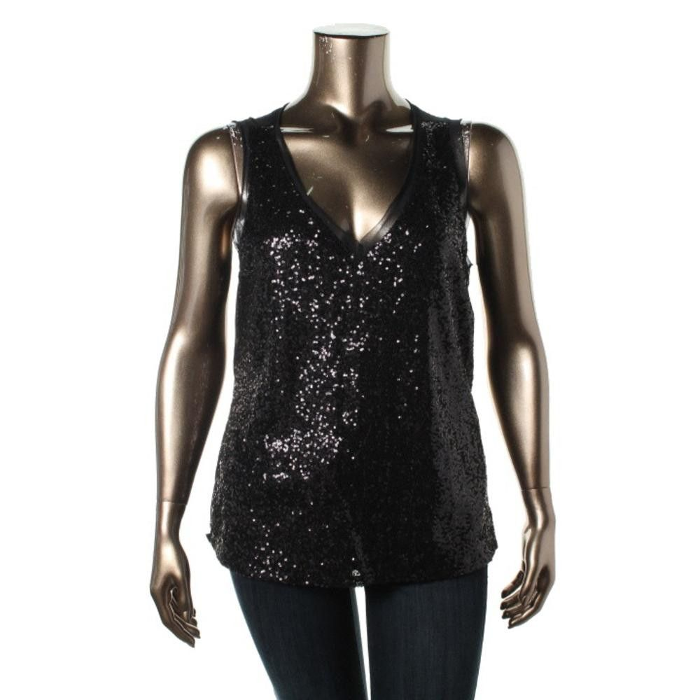 Cupio Womens Sequined Sleeveless Blouse