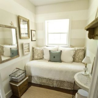 Striped walls. living room/hallway wall.. Drama but love the color choices for neutral calming effect