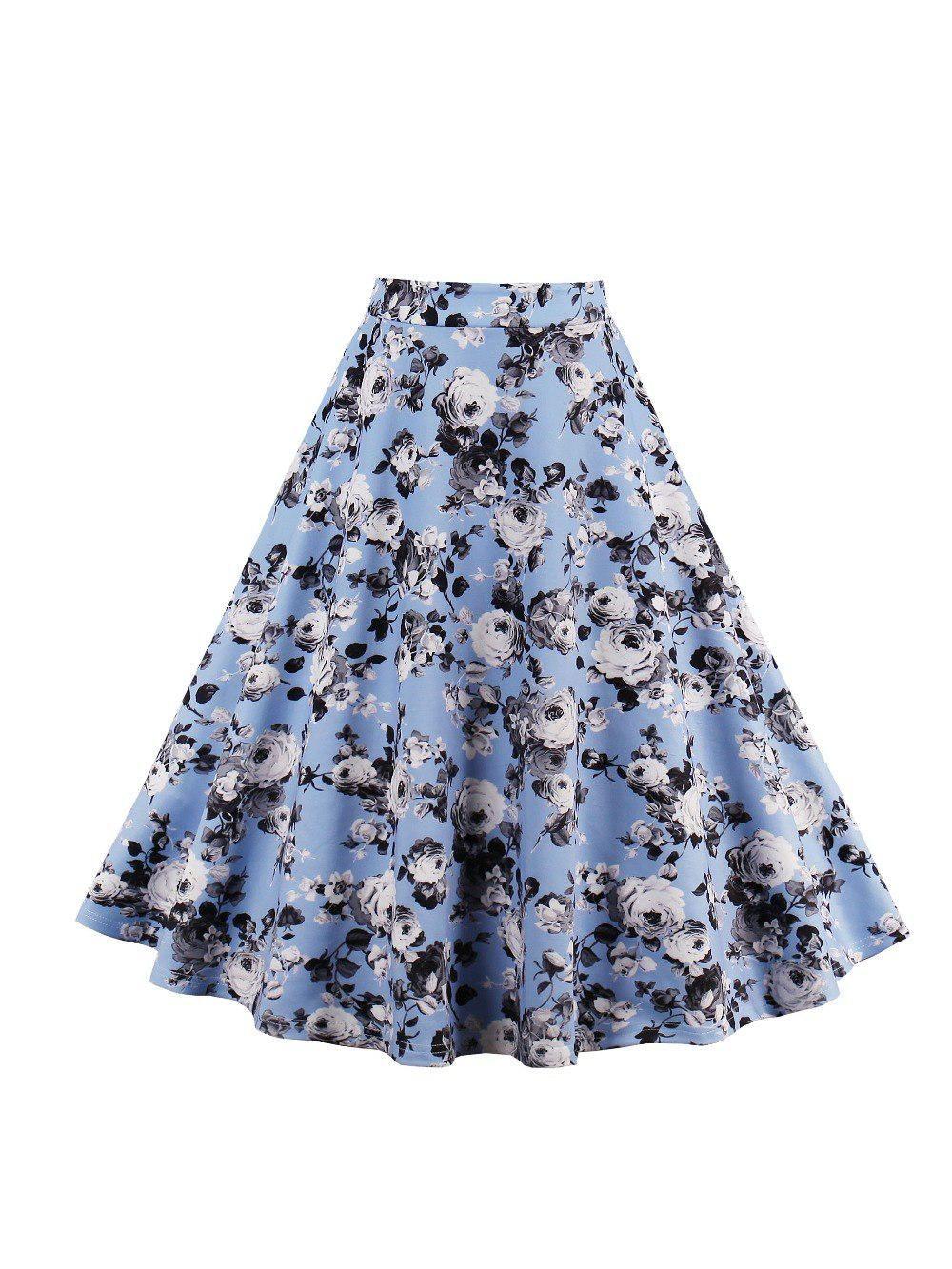 9b535615d9d6b Sisjuly Women Skirt Summer Print Blue Vintage Casual Girls Skirts ...