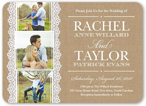 Burlap And Lace 5x7 Wedding Invitations Shutterfly Wedding Invitations With Pictures Photo Wedding Invitations Cheap Wedding Invitations