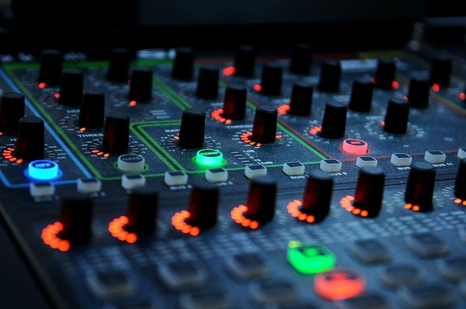Hd Wallpaper Black Audio Mixer Dj Turntable Leds Music Equipment Sound Wallpaper Flare Seni Musik Seni