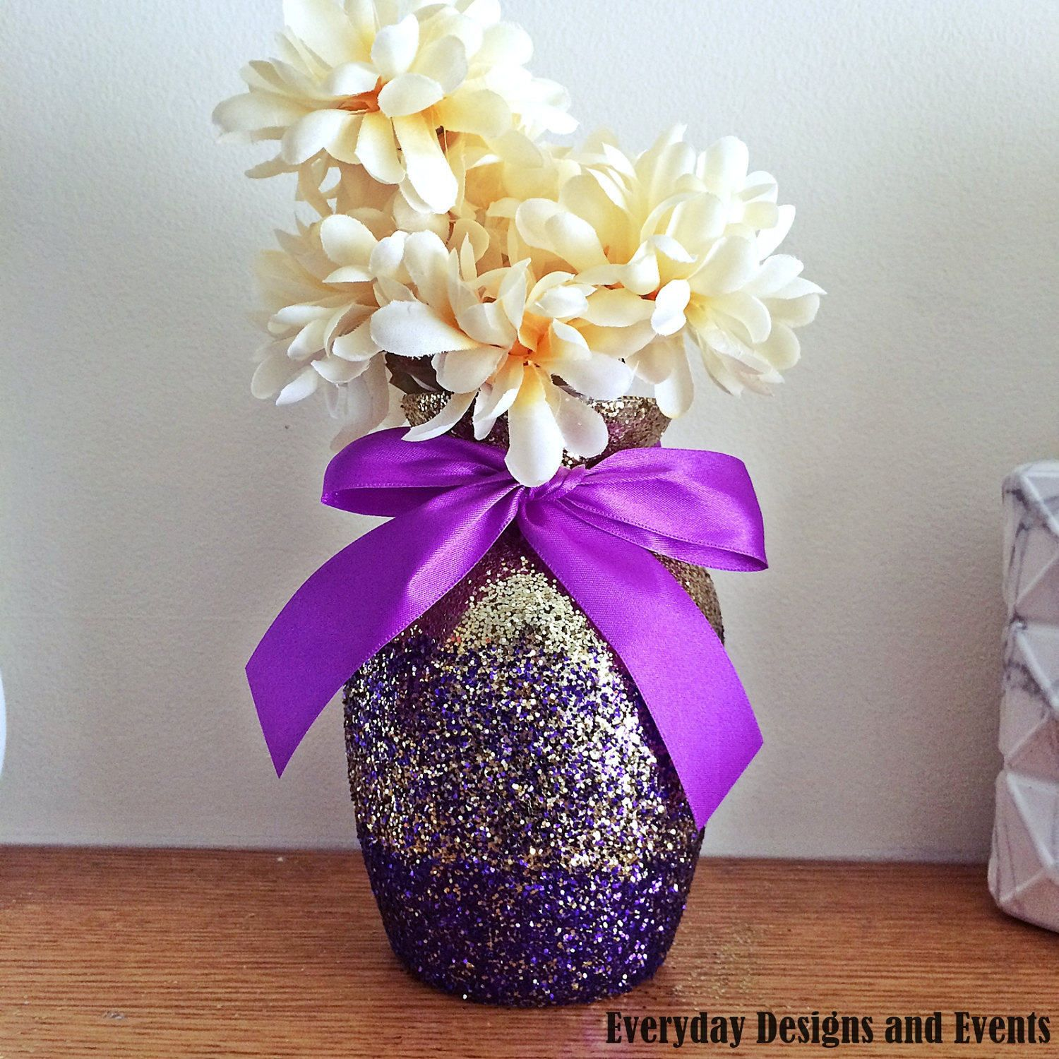 4 Ombre Vases, Gold And Purple Ombre Vases, Baby Shower,