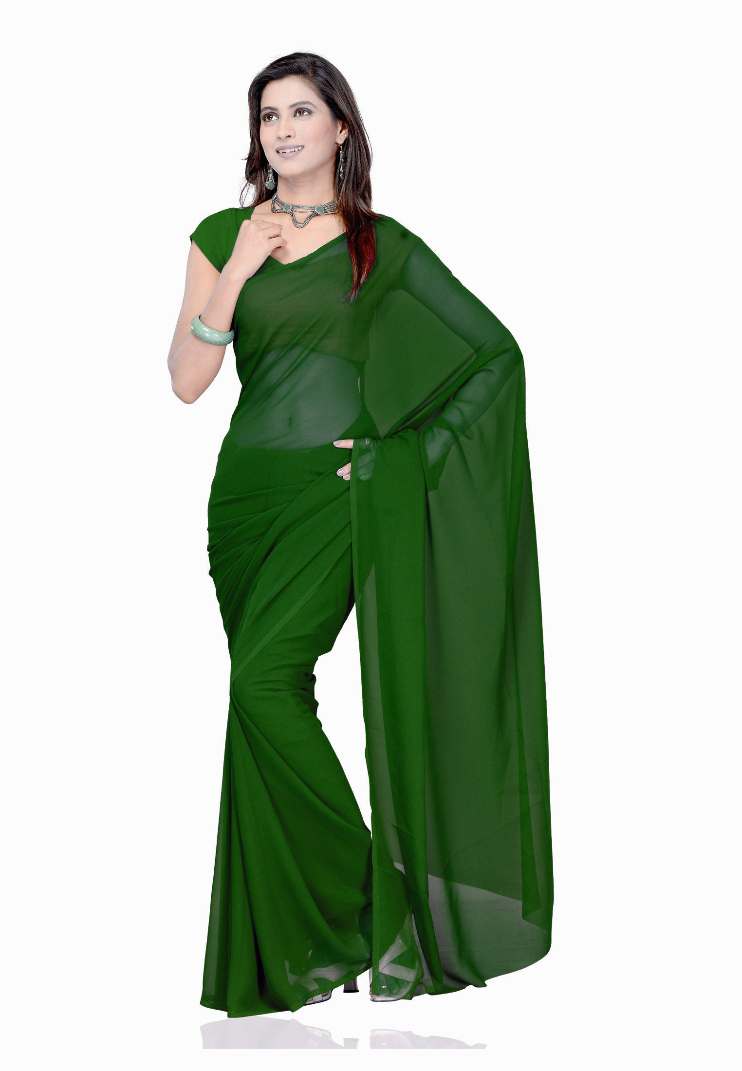 Plain Dark Green Colour Chiffon Fabric Saree With Blouse Plain Saree Blouse Piece Georgette Sarees
