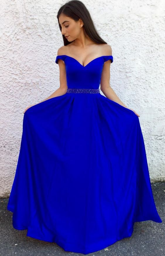 4479b466575ad Royal Blue Off The Shoulder A Line Formal