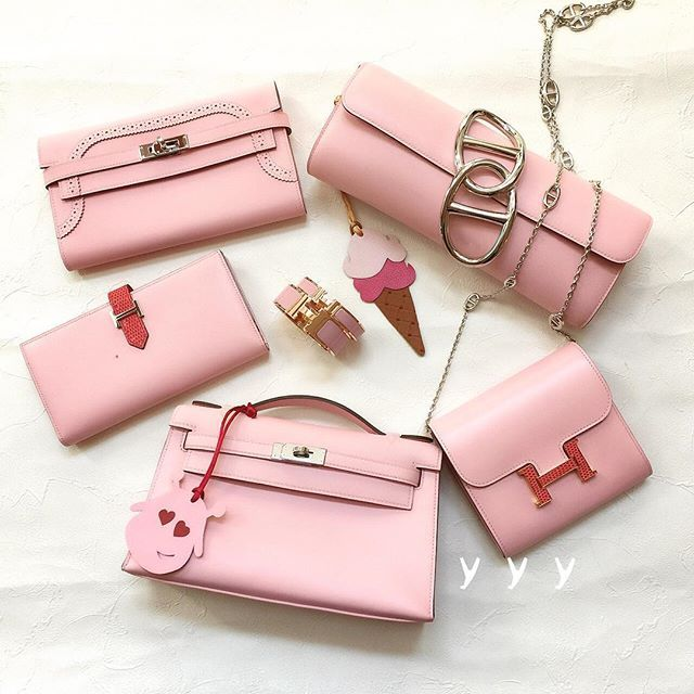 Hermes - A selection of pink bags, purses and charms.