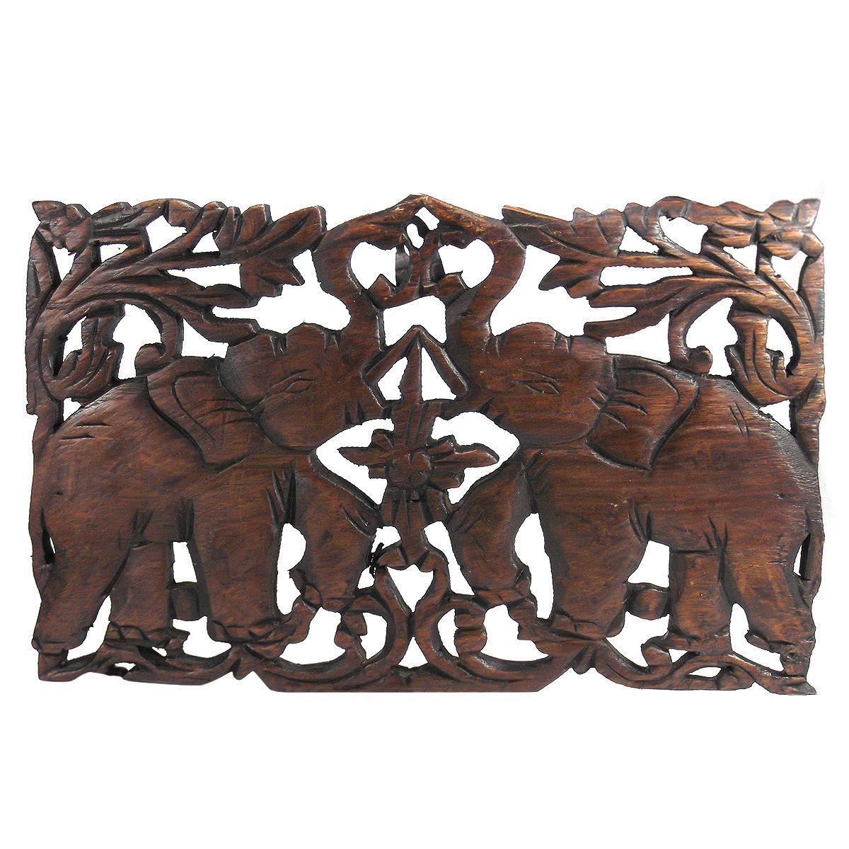 A pair of graceful elephant dance and hold their trunks high in jubilant thai elephant hand carved teak wood wall art thailand overstock shopping big discounts on statues sculptures buycottarizona